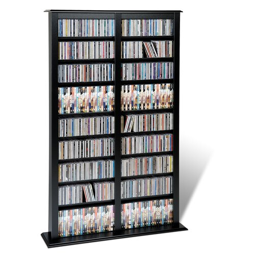 Prepac Floor Media Double Width Barrister Multimedia Storage Rack
