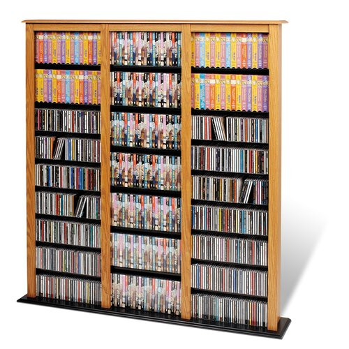 Floor Media Triple Width Barrister Multimedia Storage Rack