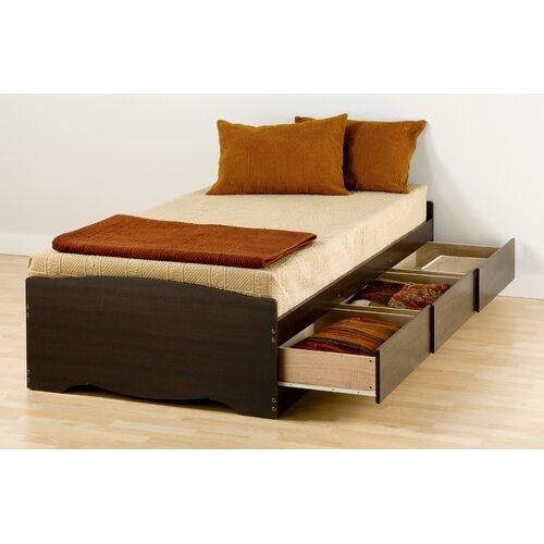 Twin Platform Storage Bed with Three Drawers in Espresso