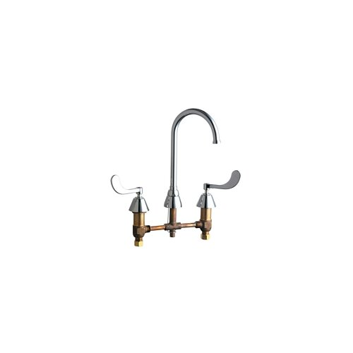Chicago Faucets Concealed Double Handle Widespread Kitchen Faucet with Gooseneck Spout