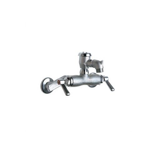 Chicago Faucets Wall Mounted Service Sink Faucet with Vacuum Breaker and Double Lever Handle