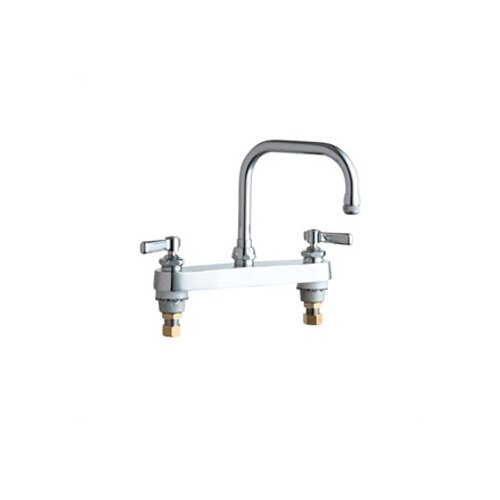 Chicago Faucets 527 Deck Mount Double Handle Centerset Kitchen Faucet with Lever Handles