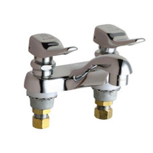 Centerset Bathroom Faucet with Double Push-Tilt Handles
