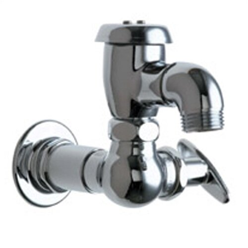 Chicago Faucets Manual Wall Mounted Service Sink Faucet with Vacuum Breaker Spout and Tee Handle