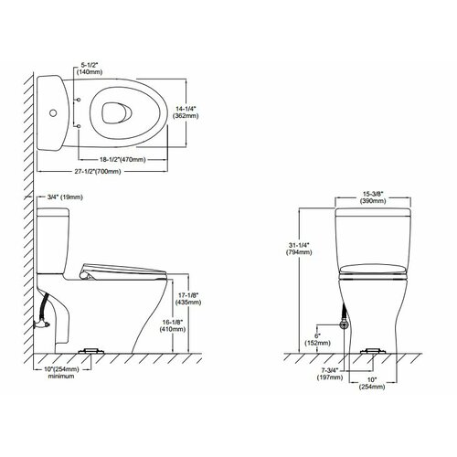"""Toto Aquia Dual Flush 1.6 GPF / 0.9 GPF Elongated 2 Piece Toilet with 10"""" Rough-In"""