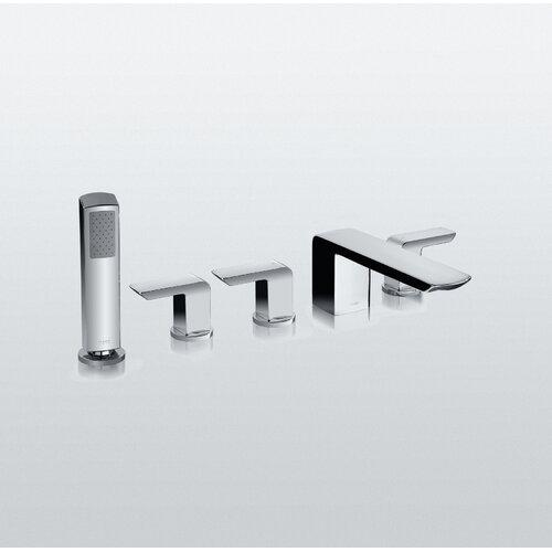 Toto Soirée Deck Mount Bath Faucet with Lever Handles, Hand Shower and Diverter Trim