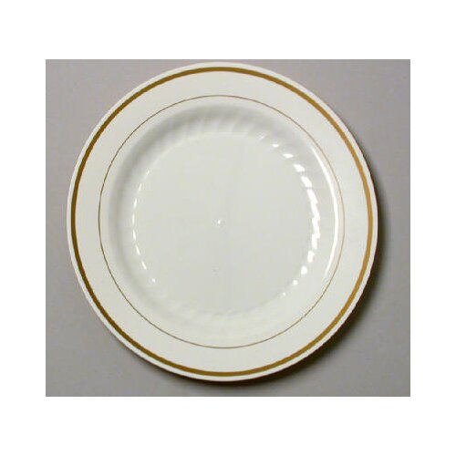 "WNA Comet Masterpiece 10.25"" Plastic Plate in Ivory with Gold Accents"