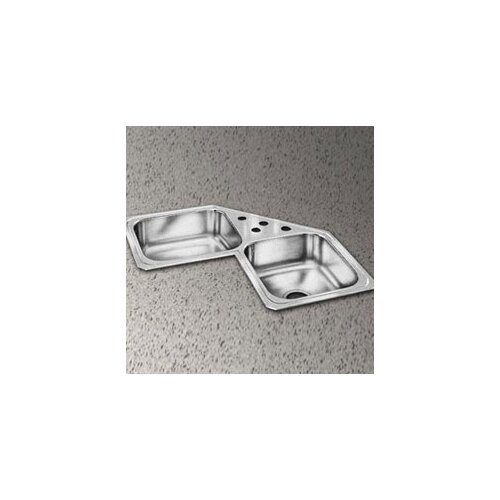 "Elkay Celebrity 31.88"" x 31.88"" Double Bowl Self-Rimming Corner Kitchen Sink"