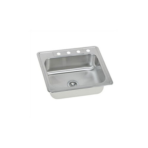 "Elkay Gourmet 25"" x 22"" Self Rimming 3-Hole Single Bowl Kitchen Sink"