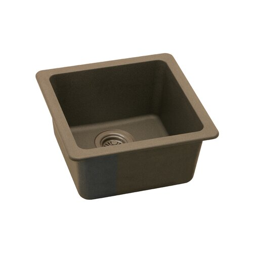 "Elkay Gourmet 15.75"" x 15.75"" E-Granite Universal Mount Single Bowl Kitchen Sink"