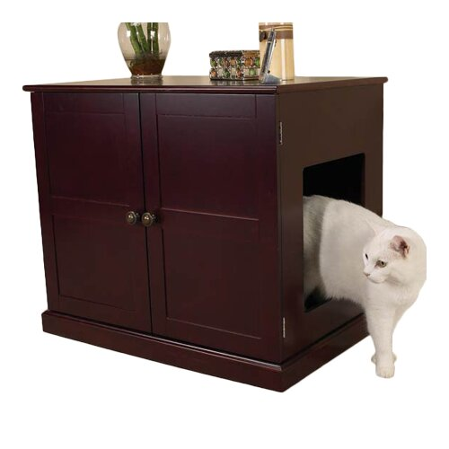 Pet Studio Cat Litter Box Cabinet in Mahogany
