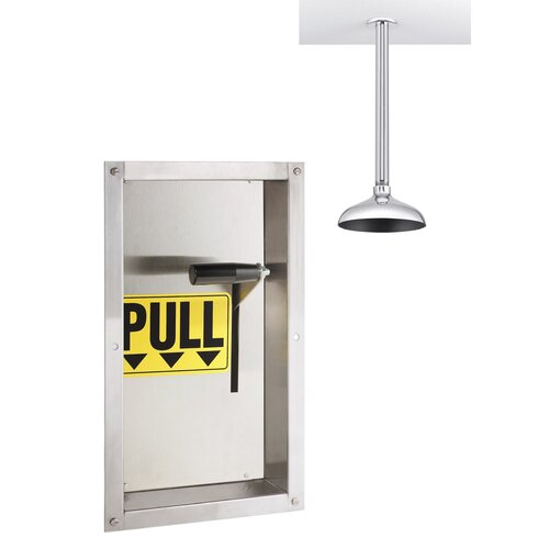 Speakman Safe-T-Zone Wall Mount Emergency Deluge Shower with Fully Recessed Wall Activator