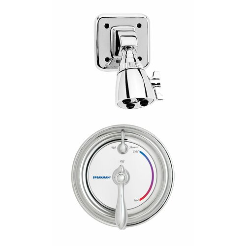 Speakman Sentinel Mark II Anti - Scald Balanced Pressure Thermostatic Shower Faucet with Adjustable Temperature Limit Stop and Integral Stops