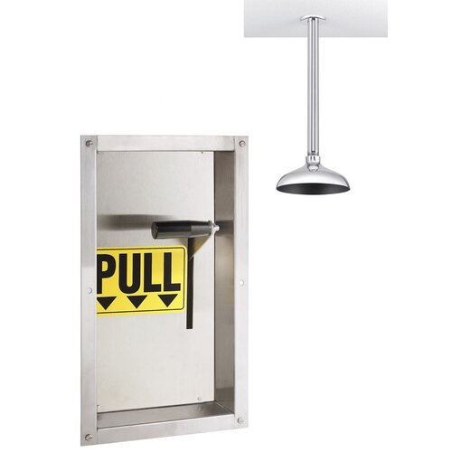 Safe-T-Zone Wall Mount Emergency Deluge Shower with Fully Recessed Wall Activator