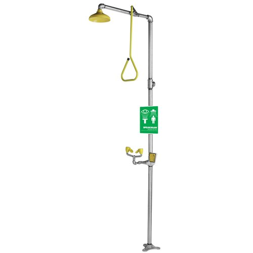 Speakman Safe-T-Zone Floor Mount  Combination Shower with Se-575 Eye / Face Wash, Twin Sprays and Deluge Showerhead