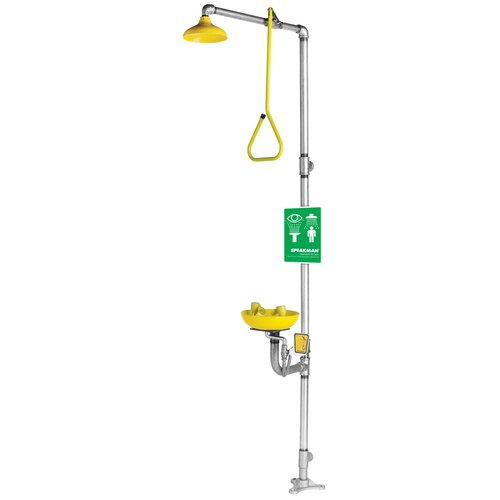 Safe-T-Zone Floor Mount Combination Station with Abs Bowl, Deluge Showerhead and Pull Rod