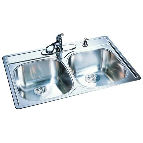 "FrankeUSA 33"" x 22"" 18 Gauge Double Bowl Kitchen Sink"