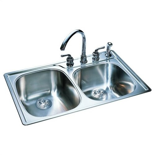 "FrankeUSA 33"" x 22"" Offset Double Bowl Kitchen Sink"