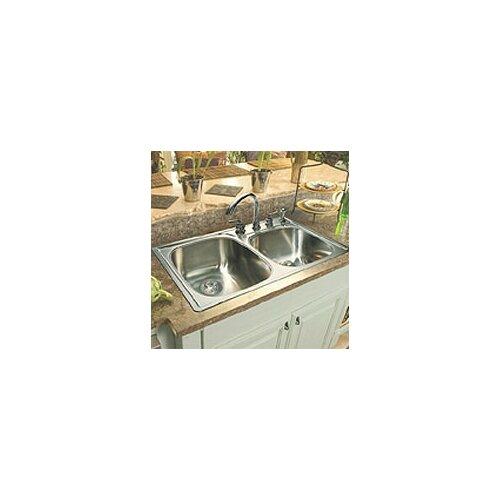 """FrankeUSA 33"""" x 22""""  Double Bowl 4 Hole Kitchen Sink"""