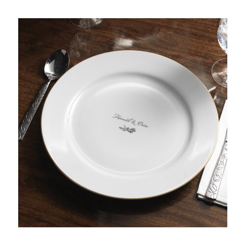 "Checkerboard, Ltd Personalized Dianthus 12.25"" Dinner Plate"