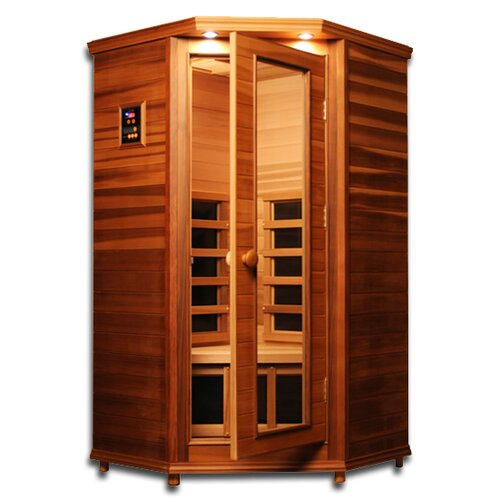 premier 1 person corner carbon and ceramic far infrared sauna wayfair. Black Bedroom Furniture Sets. Home Design Ideas