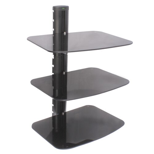 Three Shelf AV Component Wall Mount in Black
