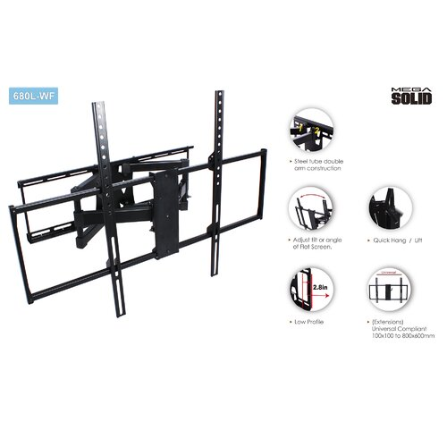 "Man Cave America Large Low-Profile Full Motion Articulating Universal Wall Mount for 37"" - 65"" LED / LCD / Plasma"