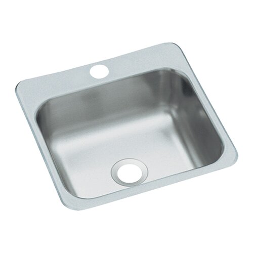 "Sterling by Kohler 16.5"" x 16.19"" x 6.25"" Entertainment Self Rimming Single Bowl Kitchen Sink"