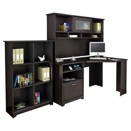 Cabot Corner Desk with Hutch & Bookcase in Espresso