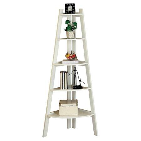 Kala Corner Ladder Bookcase in White