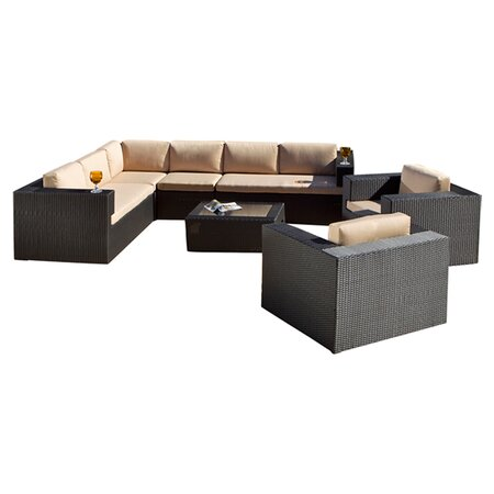 Epping 7 Piece Seating Group in Black with Sand Cushions