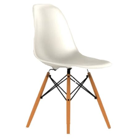 Eames DSW âu20acu201c Molded Plastic Side Chair With Dowel Leg Base In White