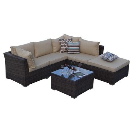 Jicaro 5 Piece Seating Group in Dark Brown with Tan Cushions