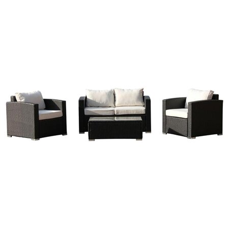 Vomo 4 Piece Seating Group in Black with Beige Cushions