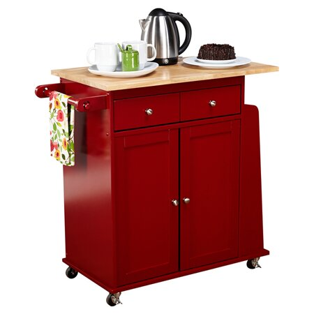 Sonoma Wood Top Kitchen Cart in Red & Natural