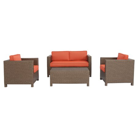 Salinas 4 Piece Deep Seating Group in Brown with Terracotta Cushions