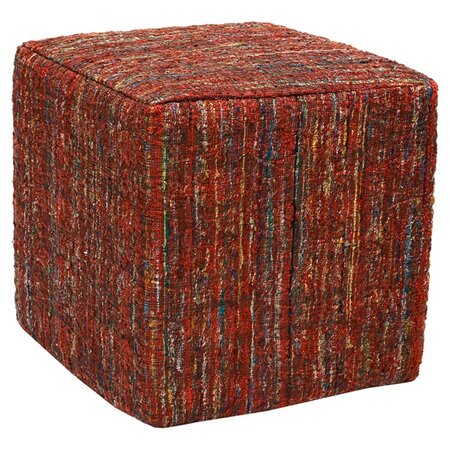 Saree Pouf Ottoman in Red