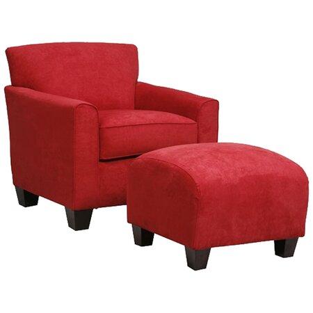 Livingston Arm Chair & Ottoman Set in Crimson