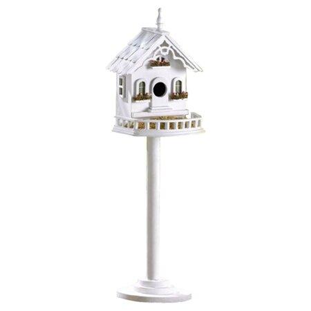 Cape Cod Pedestal Birdhouse in White