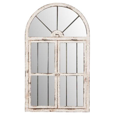 Window Wall Mirror in Antique White