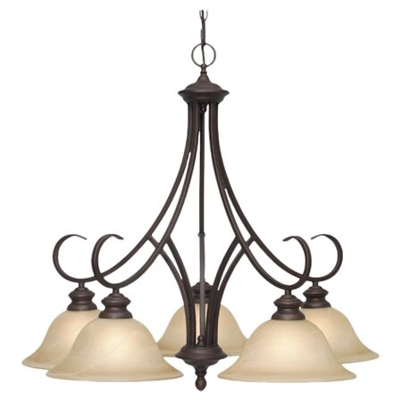 Lancaster 5 Light Chandelier in Rubbed Bronze