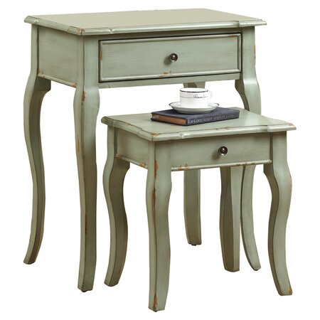 Huelo 2 Piece Nesting Table Set in Antique Green