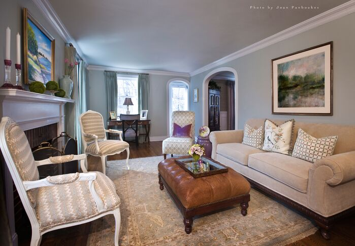Traditional Living Room photo by Paula Caponetti Designs LLC