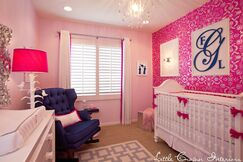 Hot Pink and Navy Girls Nursery