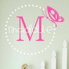 Butterfly Dots Monogram Wall Decal