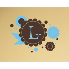 <strong>Alphabet Garden Designs</strong> Chocolate Flowers Monogram Wall Decal
