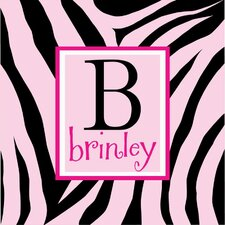 Personalized Zebra Print Monogram Canvas Art