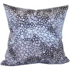 Faux Silk Square Decorative Pillow in White and Black