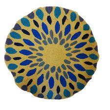 Round Iris Embroidered Cotton Pillow
