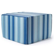 Thick Stripes Outdoor Ottoman in Blue